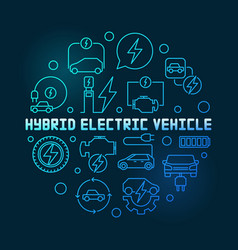 hybrid electric vehicle round blue line vector image