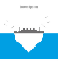 iceberg by steamer flat style of sea birds vector image