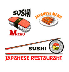 icons for japanese sushi seafood restaurant vector image