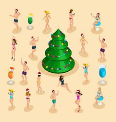 Isometric celebration men and women in bathing vector