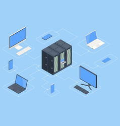 isometric data center and network elements server vector image