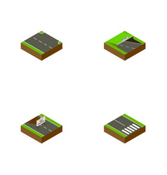Isometric way set of pedestrian repairs vector