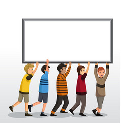 kids holding a blank board vector image