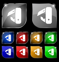 knife picnic icon sign Set of ten colorful buttons vector image