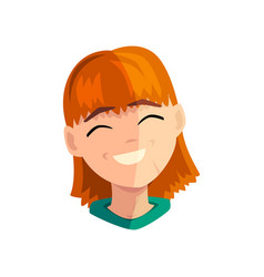 Laughing redhead girl female emotional face vector