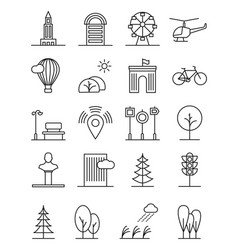line art house urban landscape icons linear trees vector image