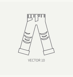 line flat icon wear - ripped jeans punk vector image