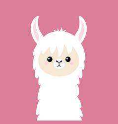 Llama alpaca animal face cute cartoon kawaii vector