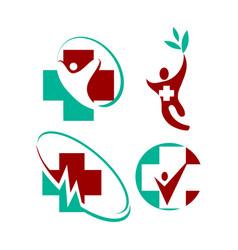 Medical health cross human clinic logo template vector