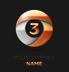 Number three logo symbol in golden-silver circle vector