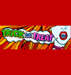open mouth and trick or treat vector image