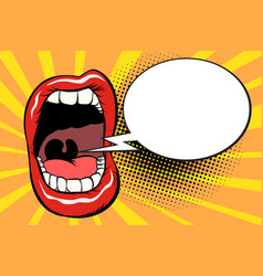 open mouth comic balloon vector image