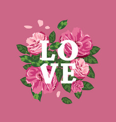pink flowers white love message valentines day vector image