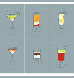 poster cocktails margarita grayish blue vector image