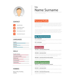 Professional white resume cv template vector