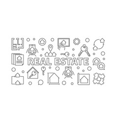 real estate horizontal banner in outline vector image