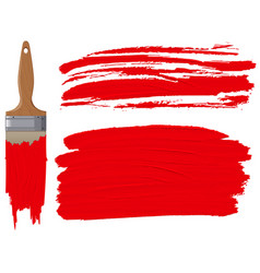 red paint brush on white background vector image
