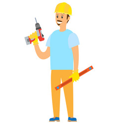 repairman standing with drill and ruler vector image