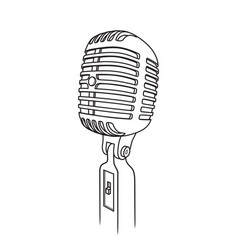 retro microphone in outline style on white vector image