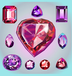 rubies of different shapes and cut vector image