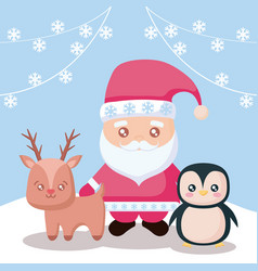santa claus with reindeer and penguin vector image