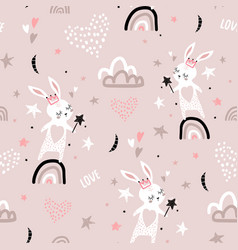 seamless childish pattern with bunny princess vector image