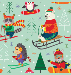 Seamless pattern winter fun with animals on sled vector