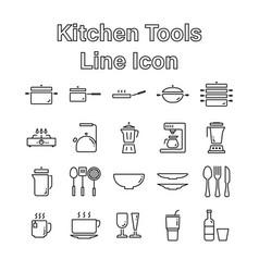 set kitchen tools line icon editable stroke vector image