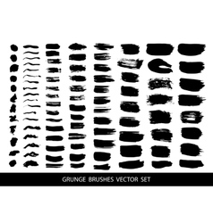 Set of black paint ink brush strokes vector