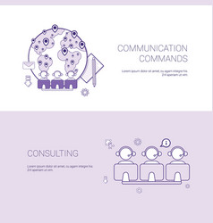 set of communication commands and consulting vector image