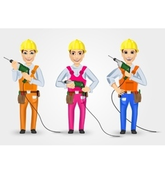 Set of three technical electrician or mechanic vector
