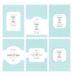 set wedding cards located on pattern point waves vector image