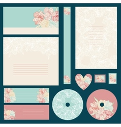 set wedding invitations with flowers background vector image