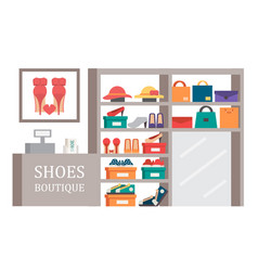 Shoes shop footwear store shopping vector