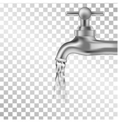 silver tap with water on transparent background vector image
