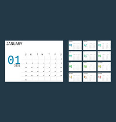 Simple 2021 year calendar week starts on sunday vector