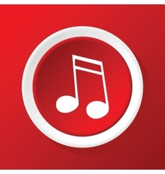 Sixteenth note icon on red vector
