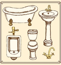 Sketch bathroom and toilet equipment in vintage vector image