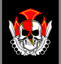 skull with knife and dice vector image