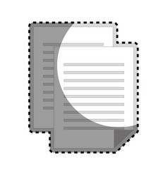 Sticker grayscale silhouette with document file vector