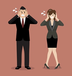 Stressed business man and woman vector image