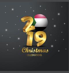 Sudan flag 2019 merry christmas typography new vector