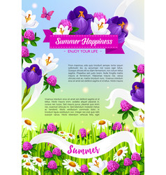 summer holiday poster of blooming flowers vector image