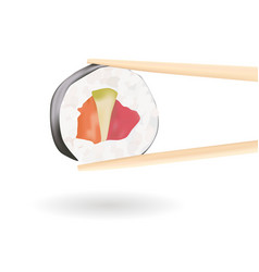 Sushi wooden chopsticks holding a roll vector