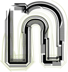 Technological font LETTER n vector