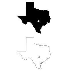 texas tx state map usa with capital city star at vector image