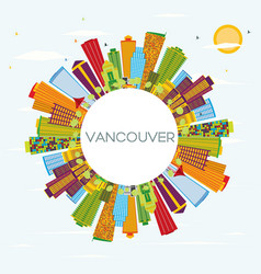 Vancouver skyline with color buildings blue sky vector