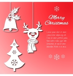 Various Christmas decorations such as a bell with vector
