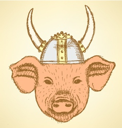 Viking Helmet Pig vector