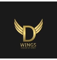 Wings D letter logo vector image